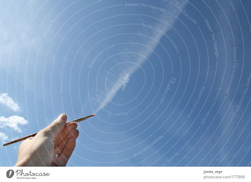 Sky Nature Blue Beautiful White Summer Hand Clouds Environment Air Arm Beautiful weather Aviation Fingers Painting and drawing (object) Draw