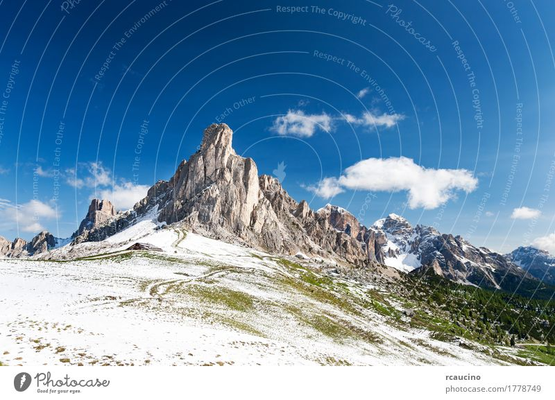 Nuvolau peak after a summer snowfall, Dolomites, Italy. Vacation & Travel Tourism Summer Snow Mountain Nature Landscape Sky Alps Peak Adventure dolomitic Europe