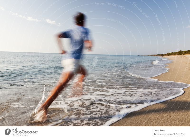 man running barefoot on the border of the sea Joy Relaxation Vacation & Travel Summer Beach Ocean Waves Sports Jogging Man Adults Nature Landscape Coast