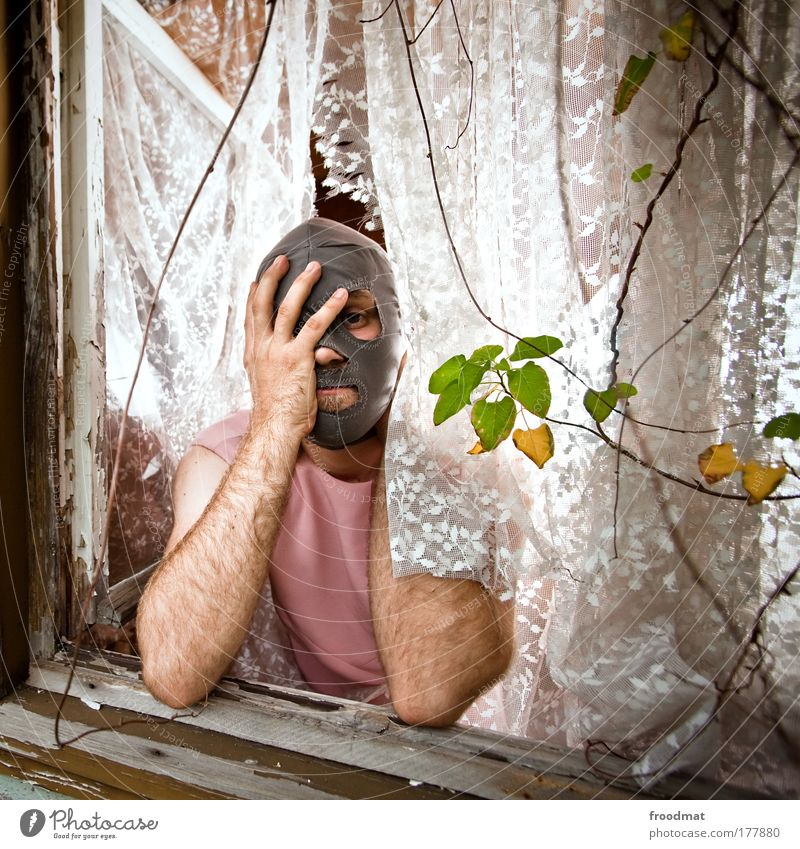 Human being Man Adults Window Poverty Masculine Crazy Exceptional Lifestyle Transience Longing Derelict Creativity Fatigue Whimsical Decline