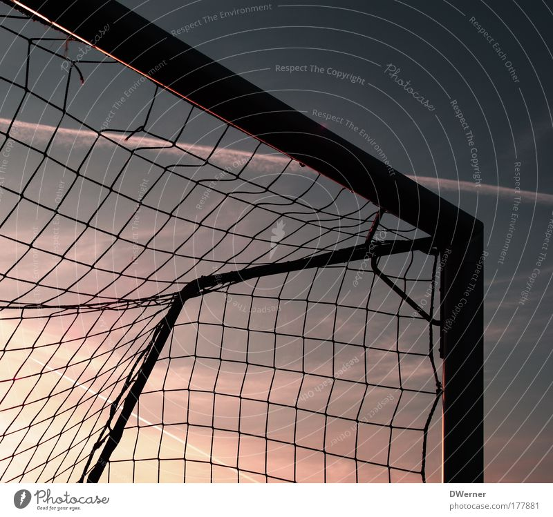 Football goal in the evening sky Life Harmonious Leisure and hobbies Playing Summer Sports Ball sports Sportsperson Goalkeeper Football pitch Sky Night sky