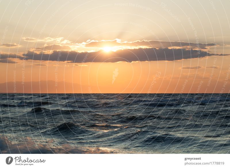 Rough sea and sunset over it Beautiful Sun Ocean Nature Landscape Sky Clouds Horizon Storm Wind Coast Sympathy Sunset wavy seascape wave skyscape Ripple stormy