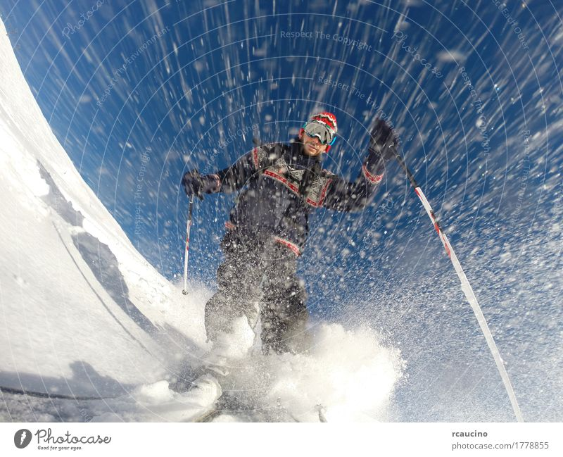 Downhill alpine skiing at high speed on powder snow Lifestyle Joy Leisure and hobbies Vacation & Travel Winter Snow Mountain Sports Skiing Man Adults Nature Sky