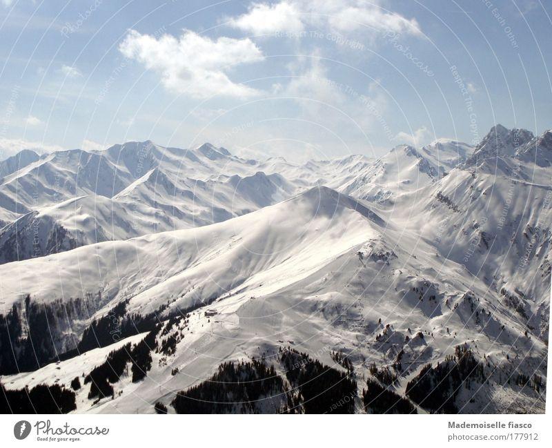 Snowy mountain tops Mountain Sky Sun Winter Alps Infinity Bright Tall Blue Black White Enthusiasm Freedom Colour photo Exterior shot Aerial photograph Deserted
