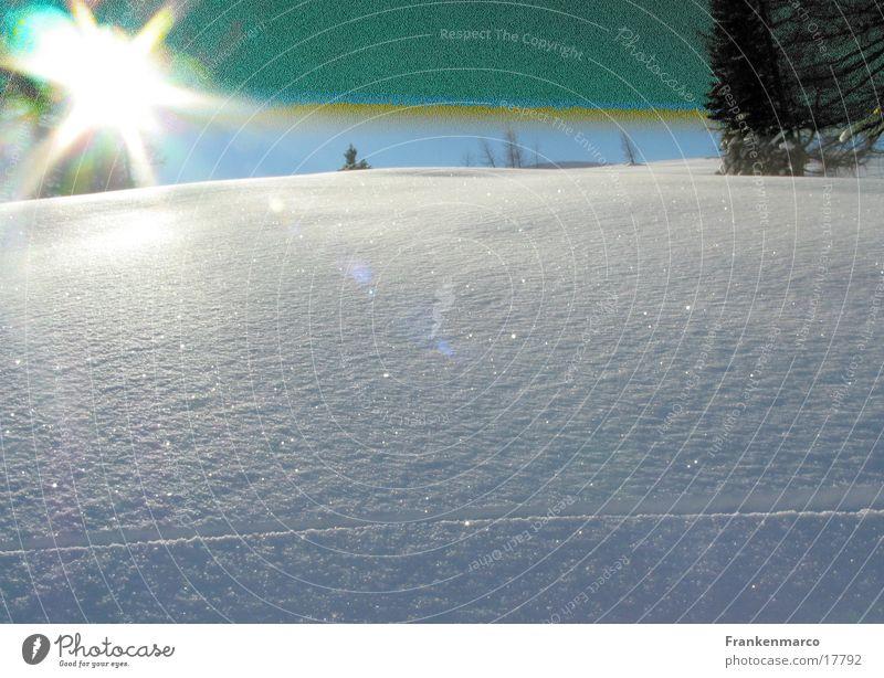 Sun Snow Mountain Lighting Hill Overexposure Ski run Untouched Deep snow