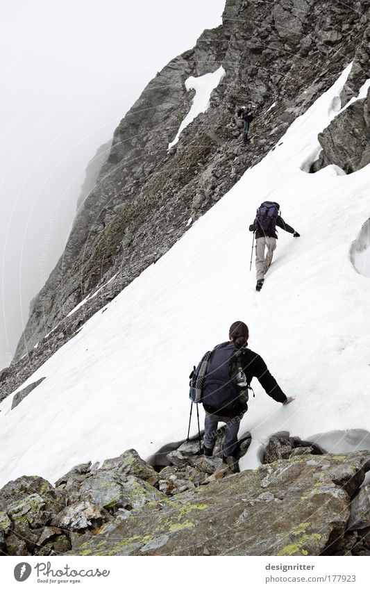 Summer Far-off places Snow Freedom Mountain Rain Ice Power Fog Rock Walking Hiking Masculine Large Adventure Safety
