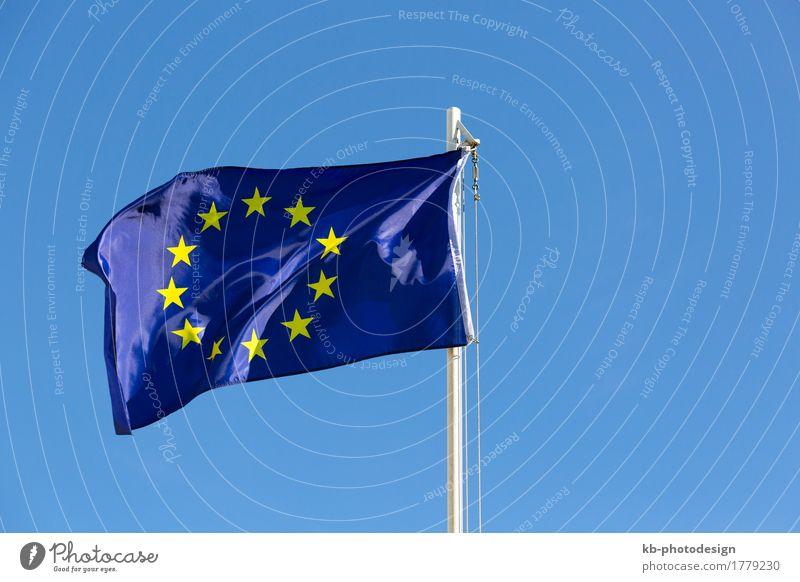 Flag of European Union on a flagpole Wind Blue Yellow EU european union textile Satin fabric sky Symbols and metaphors symbolic move motion sign Colour photo