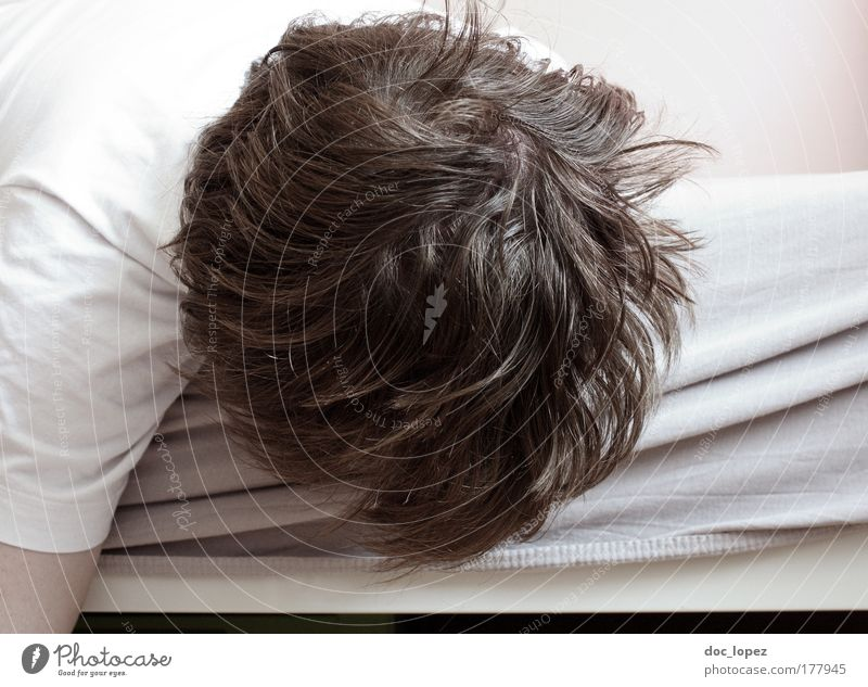 Human being Man White Adults Emotions Head Sadness Dream Room Masculine Sleep Broken Bed T-shirt Grief Hang