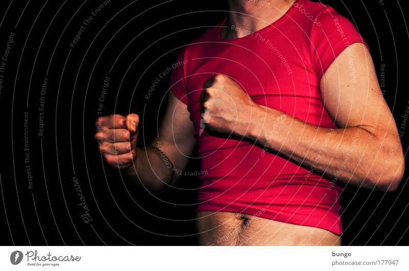 ducenta defixa Colour photo Studio shot Copy Space left Artificial light Upper body Man Adults Chest Arm Fingers Stomach T-shirt Aggression Muscular Pink Red