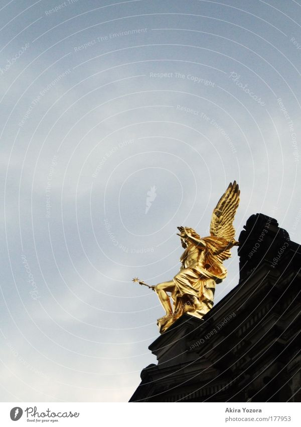 Old Sky White Blue Black Clouds Gray Architecture Glittering Gold Esthetic Angel Dresden Illuminate Statue