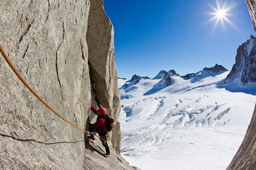 Climbing in Mont Blanc, Alps, France. Sky Nature Vacation & Travel Man Landscape Red Loneliness Winter Mountain Adults Sports Snow Boy (child) Rock Europe