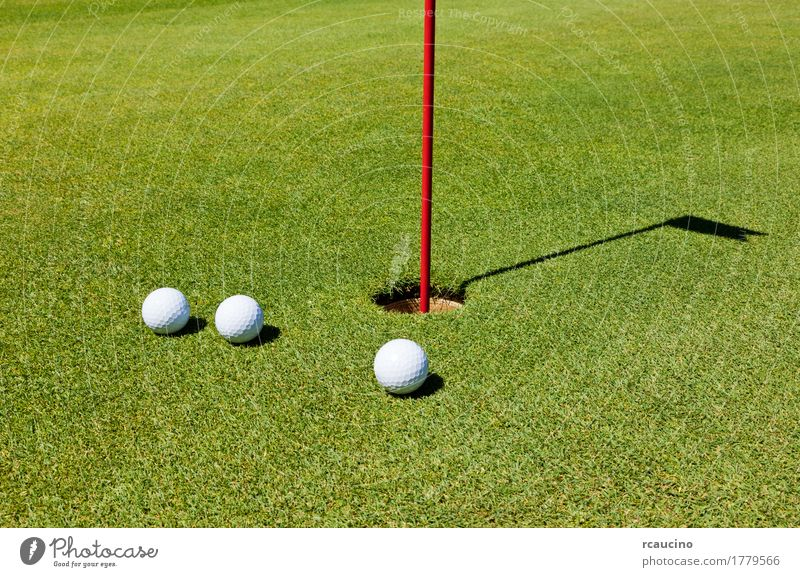 Three golf balls on the putting green, next to the hole Relaxation Summer Golf Golf course Green White three Course (flight) Golf ball healthy lifestyle Hole