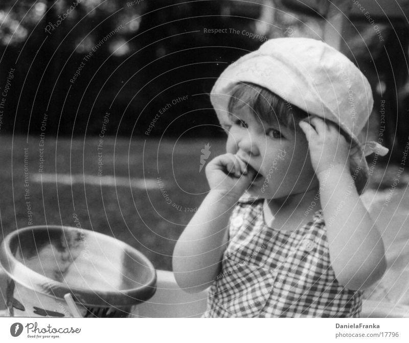 I'm tired Toddler Girl Thumb Lick Summer Black & white photo Fatigue black.white Exterior shot