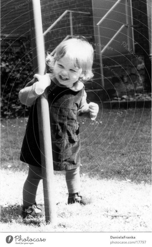 Catch me! Toddler Girl Child Grass Joy Black & white photo Laughter Walking Exterior shot