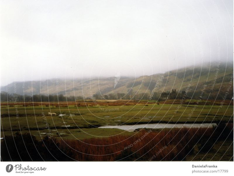 Nature Water Green Meadow Fog Hill England Scotland Highlands