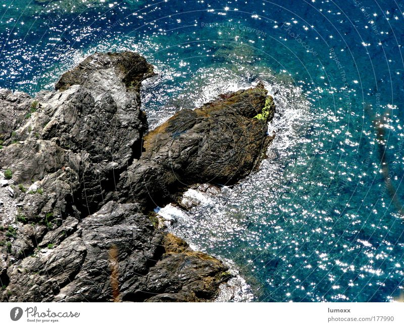 CINQUE TERRE Nature Elements Water Beautiful weather Rock Waves Coast Reef Ocean Cinque Terre Italy Glittering Blue Gray Joy Life Flow Hissing Swell Azure blue
