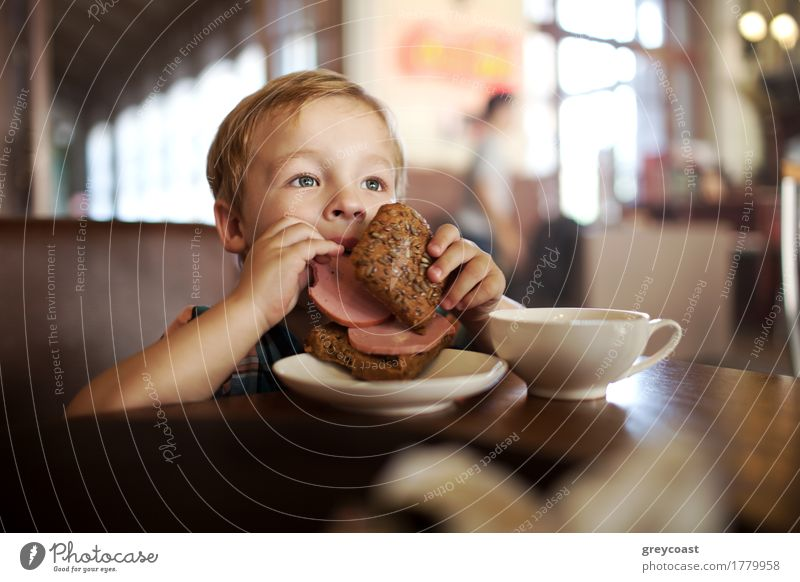 Little child having lunch with sandwich and tea in cafe Human being Child Loneliness Boy (child) Small Blonde Happiness Breakfast Café Appetite Tea Bread Dinner