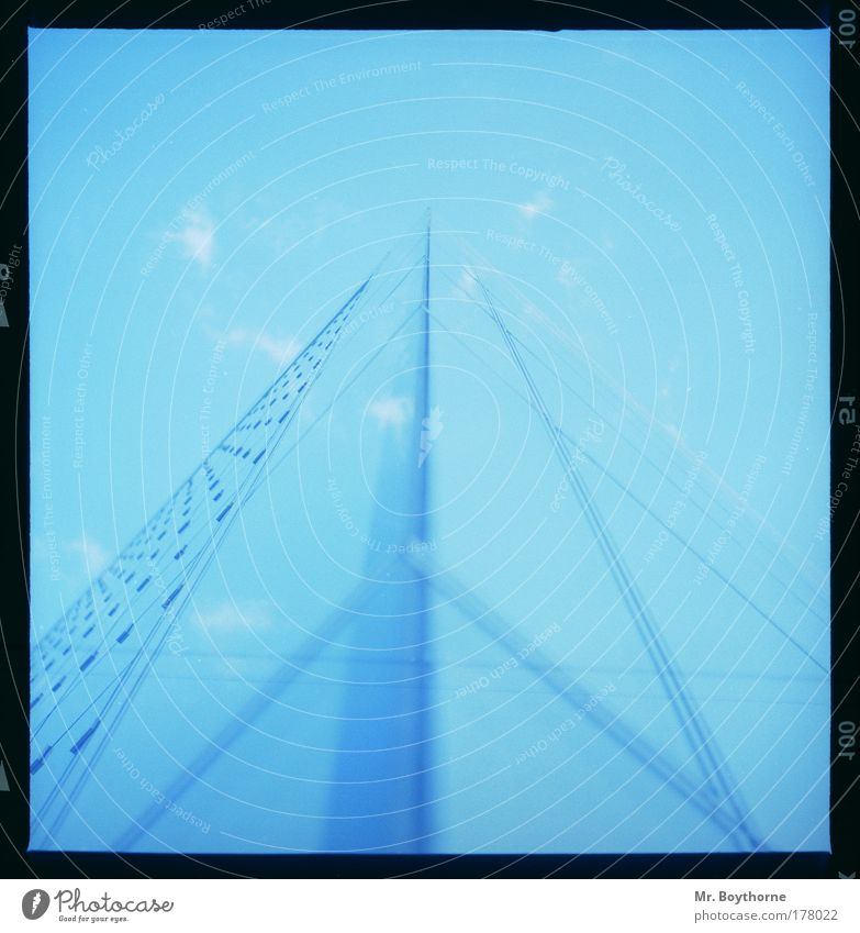 r = c * t Colour photo Exterior shot Detail Lomography Abstract Pattern Structures and shapes Deserted Day Silhouette Reflection Worm's-eye view Technology