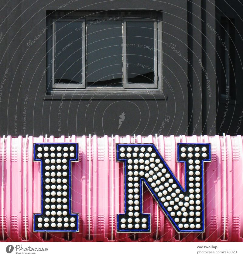 Black Letters (alphabet) Window Pink Facade Characters Kitsch Trashy Typography Club Electric bulb Ornament Casino England Odds and ends