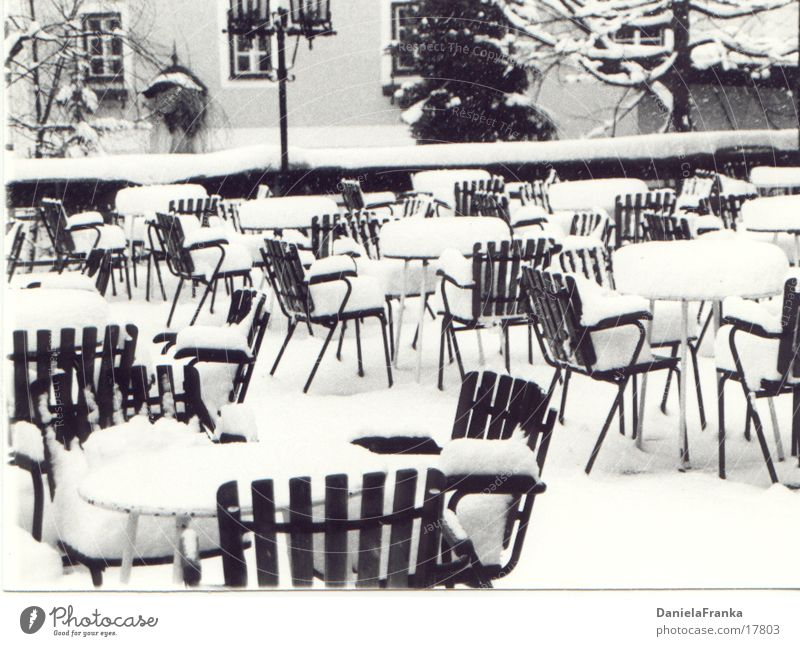 Want a seat? Winter Leisure and hobbies Terrace Chair Table Obscure Black & white photo Snow Exterior shot