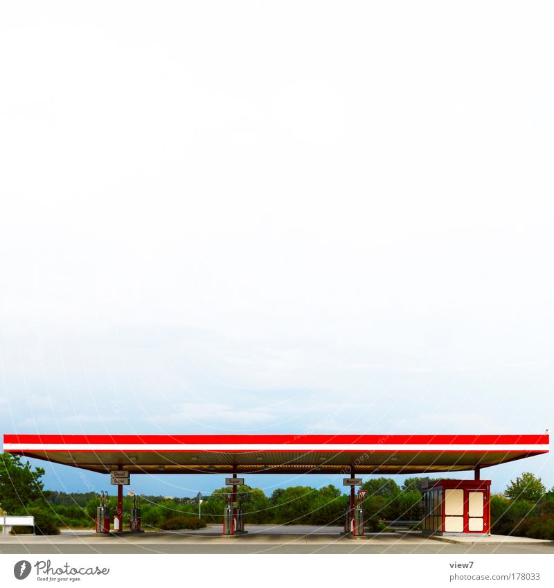 Super Plus Colour photo Multicoloured Exterior shot Deserted Copy Space top Day Deep depth of field Wide angle Sky Clouds Industrial plant Places Petrol station