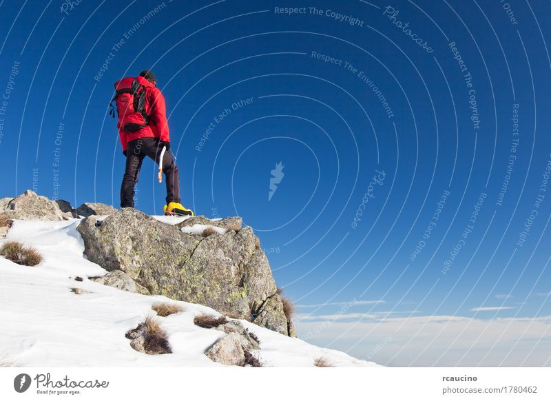 Trekker observes the horizon Sky Nature Man Blue Landscape Red Loneliness Winter Mountain Black Adults Sports Snow Rock Horizon Stand