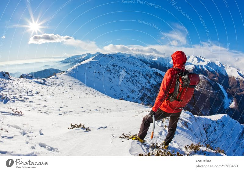 Mountaineer takes a rest while observing a mountain panorama Adventure Expedition Sun Winter Snow Sports Man Adults Nature Landscape Sky Alps Jacket Blue Red
