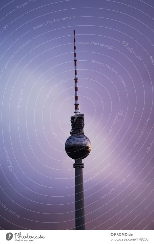 Sky Clouds Berlin Architecture Building Stand Tower Violet Capital city Berlin TV Tower Silhouette