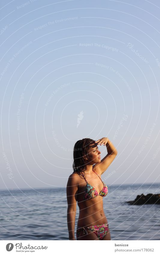 What's that? Woman Beach Search look Upward Hand Tall stop bitchy Bikini Sunset Summer Attractive youthful Side Portrait photograph Amazed Surprise Protection