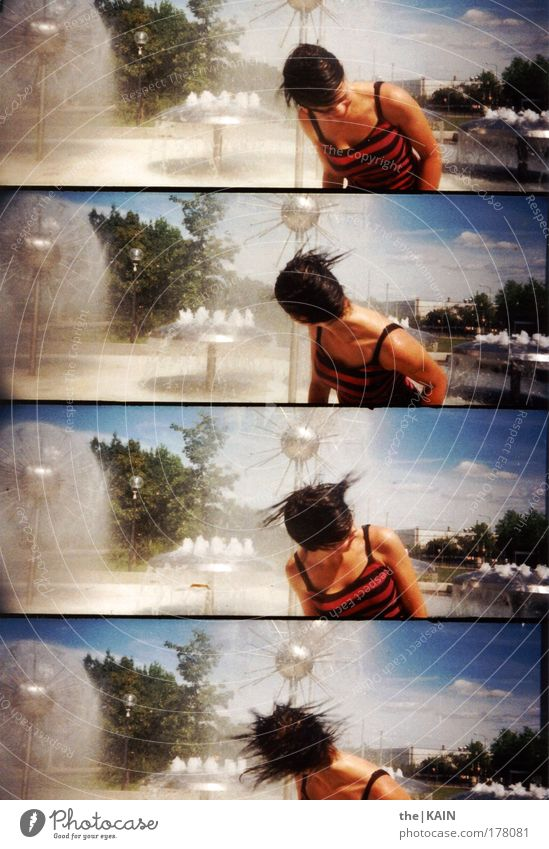Shed your hair... Colour photo Exterior shot Lomography Copy Space left Day Light Contrast Sunlight Motion blur Human being Feminine Young woman
