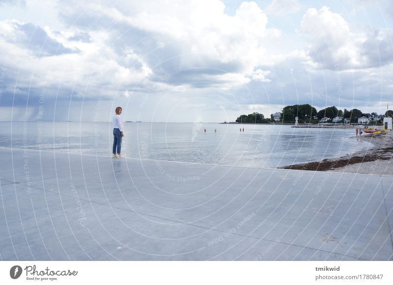 Lonely Human being Feminine Sky Clouds Autumn Climate Weather Beautiful weather Wind Rain Coast North Sea Denmark Emotions Safety (feeling of) Dream