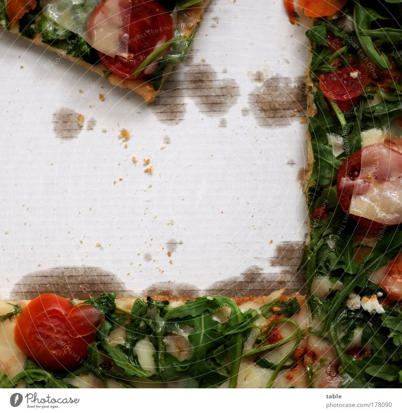 pizza Colour photo Interior shot Close-up Detail Copy Space left Copy Space middle Bird's-eye view Food Vegetable Tomato Nutrition Vegetarian diet Fast food