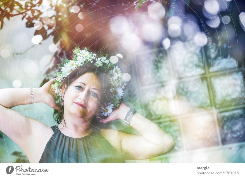 Human being Woman Youth (Young adults) Plant Blue Green Beautiful Young woman Flower Relaxation Leaf Joy Girl Face Adults Lifestyle
