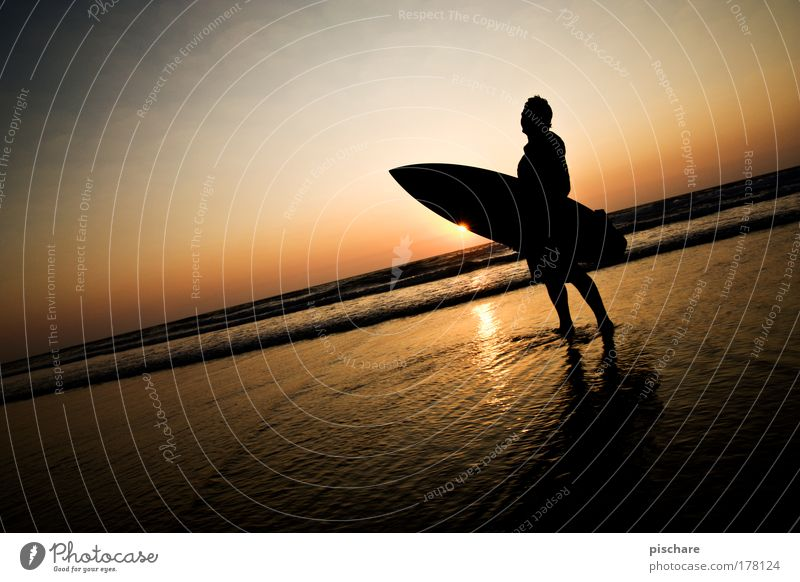 Sunset Star Beautiful Summer Beach Ocean Water Sky Horizon Esthetic Athletic Cliche Romance Surfing Portugal pischarean Dusk Surfer Vignetting Colour photo
