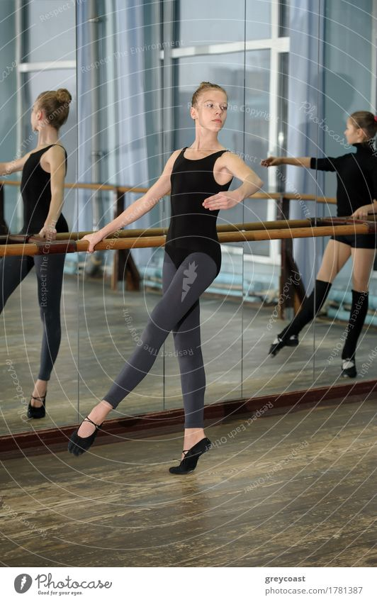 Young girls exercising during ballet class Human being Youth (Young adults) Girl School 13 - 18 years Happiness Dance Academic studies Mirror Vertical Ballet