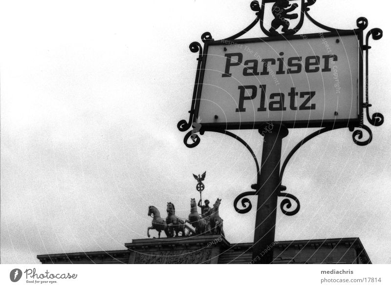 Pariser Platz Brandenburg Gate Wide angle Nostalgia Europe Berlin Signs and labeling Black & white photo