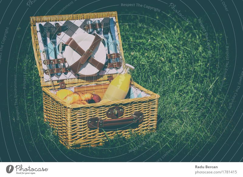 Picnic Basket With Orange Juice, Apples, Oranges And Croissants Nature Vacation & Travel Summer Green Yellow Eating Meadow Grass Healthy Fruit Park