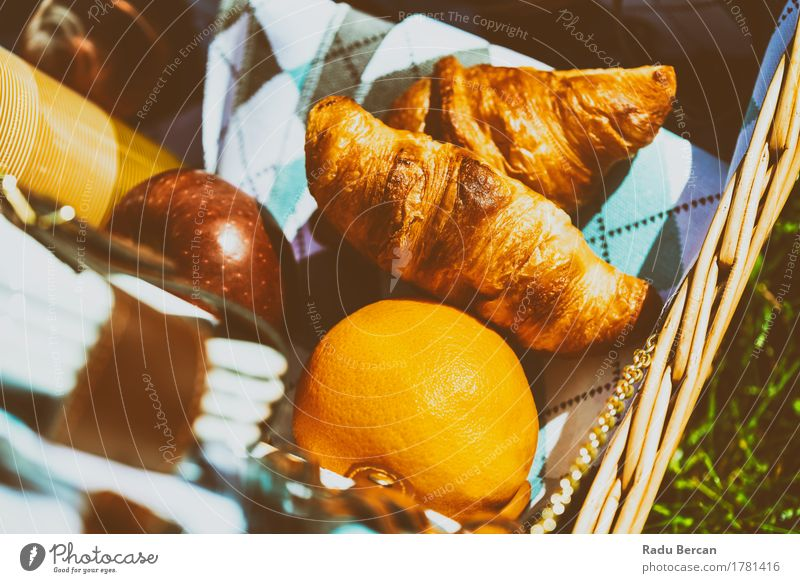 Picnic Basket With Apple, Orange And Croissants In Spring Vacation & Travel Summer Red Relaxation Yellow Eating Healthy Food Orange Fruit Leisure and hobbies Nutrition Fresh Orange Sweet Simple