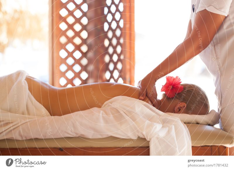 Woman relaxing with body massage at beauty spa Personal hygiene Body Skin Health care Medical treatment Wellness Relaxation Spa Massage Adults 2 Human being
