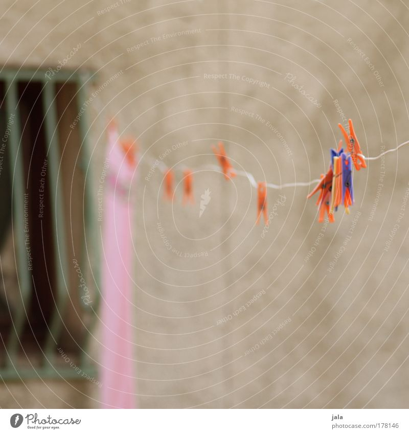 Blue Red Window Orange Pink Facade Hang Laundry Grating Clothesline Clothes peg