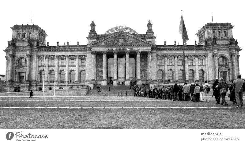 ReichstagReichstag Wide angle Wait Europe Human being Black & white photo Berlin