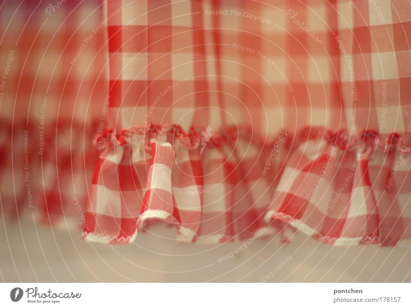 A red and white chequered curtain with frills in front of a white wall. Decoration, old fashioned Living or residing Flat (apartment) Arrange Living room