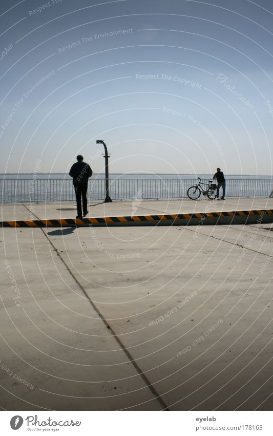 Human being Sky Vacation & Travel Gray Horizon Bicycle Going Wait Masculine Places Concrete Trip Beautiful weather Lantern Fence Agree