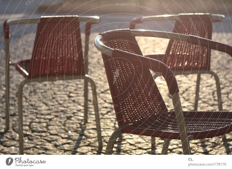 summer chairs Relaxation Calm Chair Warmth Spring fever Warm-heartedness Boredom Communicate Attachment Paving stone Restaurant Rhine Duesseldorf Shadow Sunset