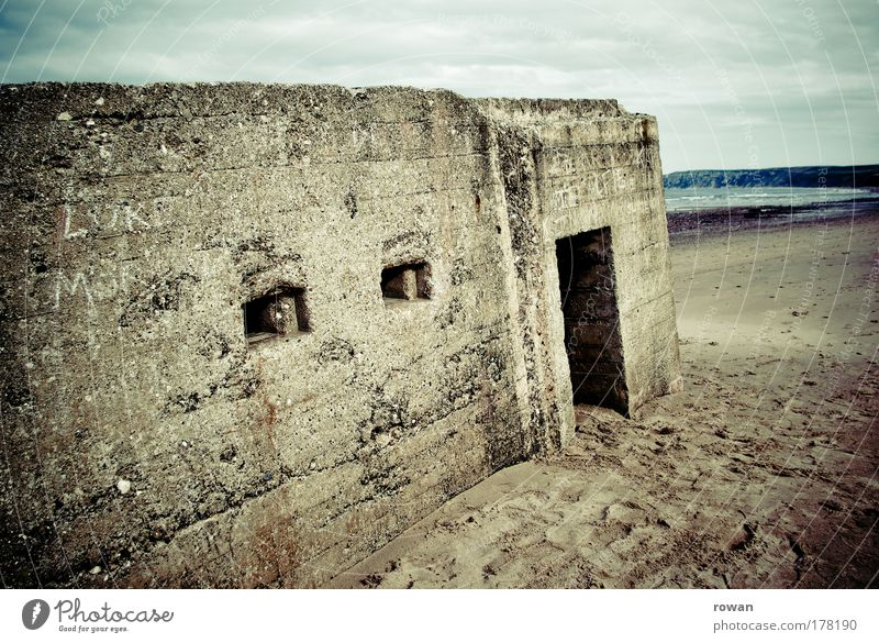 D-Day Colour photo Subdued colour Copy Space left Copy Space bottom Manmade structures Building Architecture Monument Old Threat Dark Historic Dugout Shoot