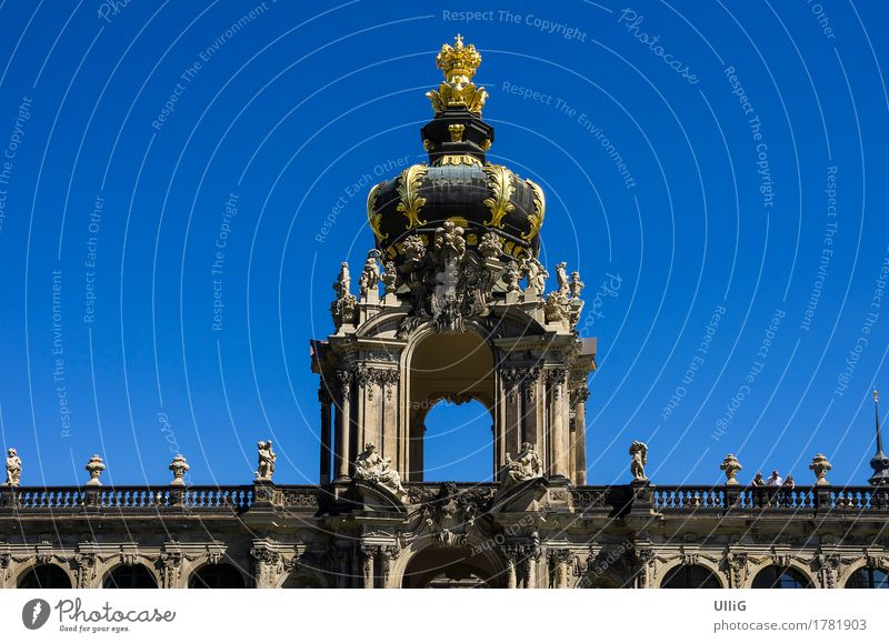 Upper part of the Crown Gate of the Zwinger Palace in the city of Dresden, Saxony, Germany. Style Vacation & Travel Tourism City trip Art Museum Culture Town