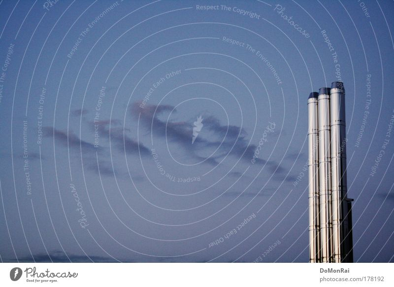 Sky Blue Clouds Air Metal Glittering Energy industry Modern Europe Stand Industry Technology Smoke Silver Chimney