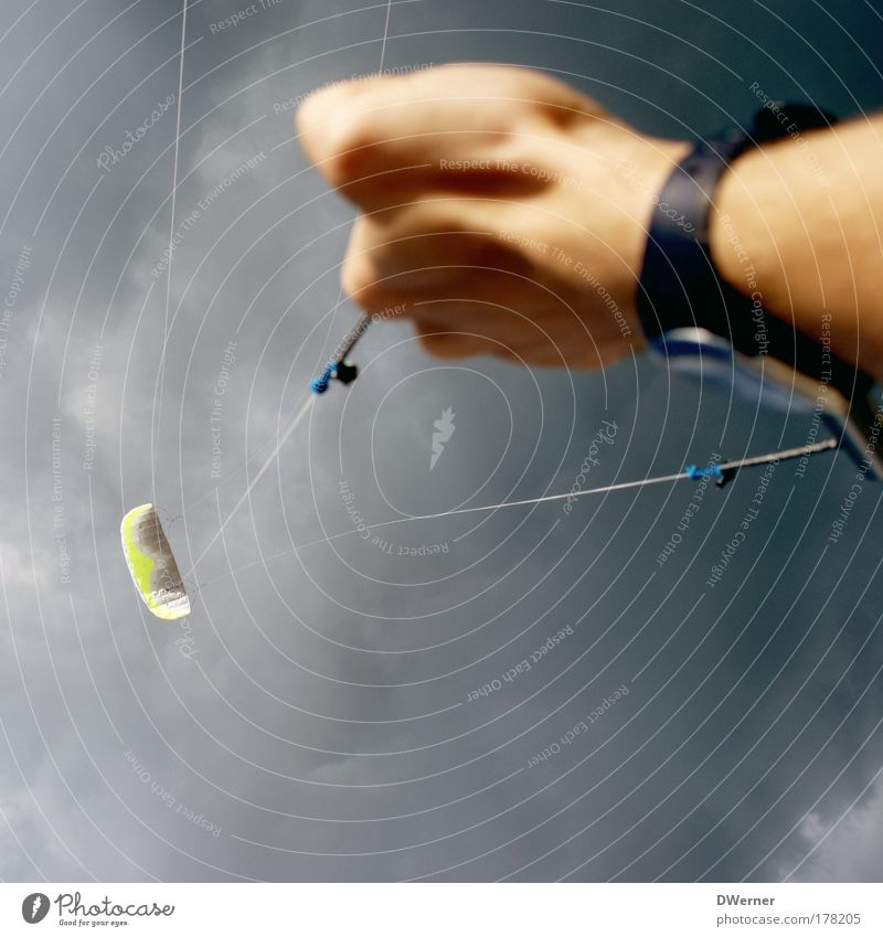 Cast off...? Lifestyle Leisure and hobbies Aquatics Arm Hand Air Sky Clouds Storm clouds Bad weather Wind Aircraft Flying Sports Infinity Power Kiting Surfing