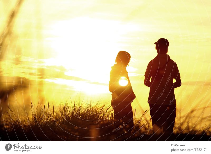 Human being Sky Nature Youth (Young adults) Beautiful Clouds Calm Emotions Young woman Happy Young man Masculine Stand Beautiful weather Romance Sunset