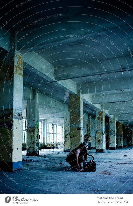Human being Man Old Blue Green Loneliness Adults Architecture Gray Building Going Wait Concrete Masculine Industry T-shirt